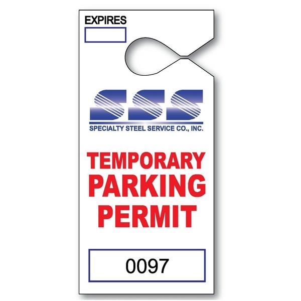 "2 1/2"" x 4"" Paper Hanging Parking Tag"