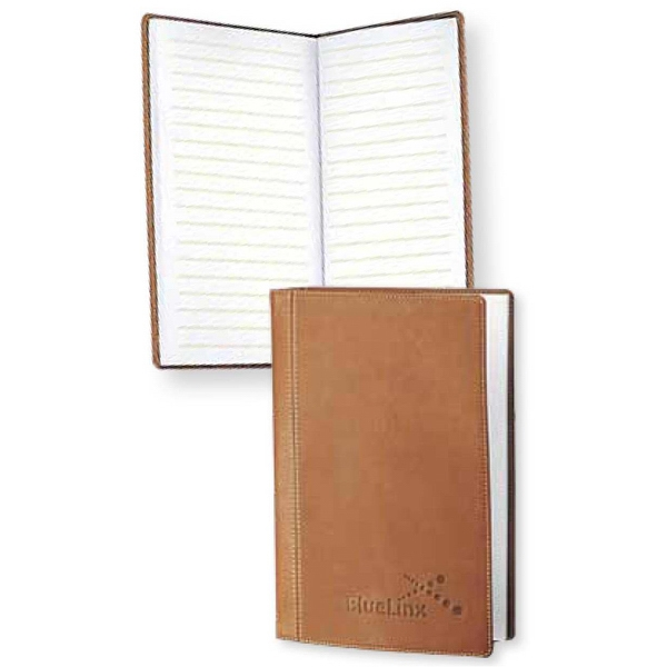 Marin - English Tan Desk Journal With Contrast Stitching And Rounded Corners Photo