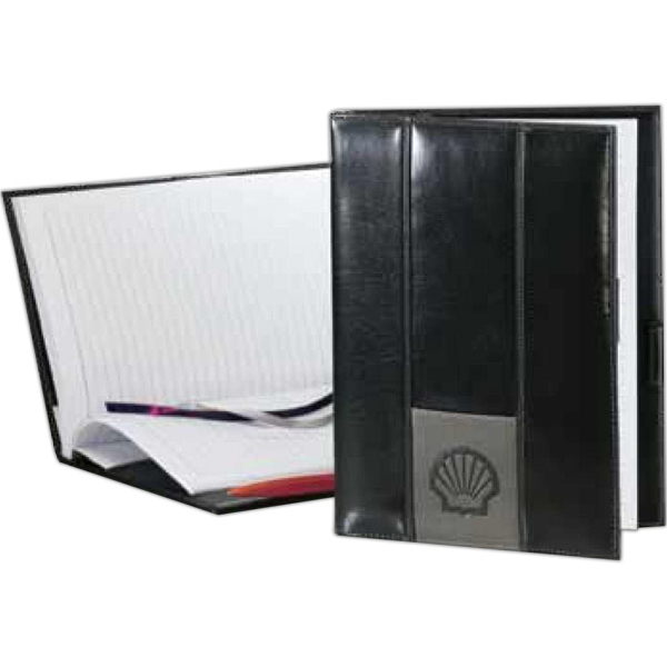 Newport - Dual Tone Contemporary Style Journal Book With Vertical Panels Photo