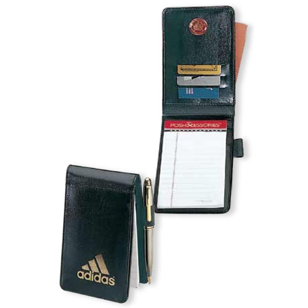 Atlantis - Black Leather Pocket Jotter Features Pockets For Cards And Memo Paper Photo