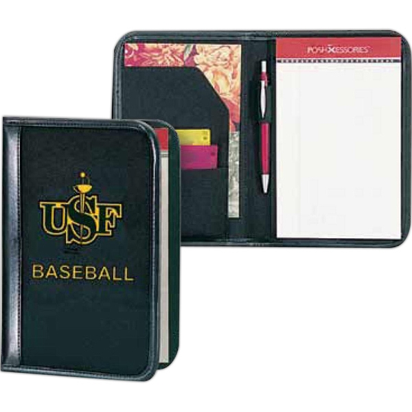 "Classic Scenesetter - Black 600 Denier Polyester Canvas Junior Padfolio With A 5"" X 8"" Ruled Note Pad Photo"