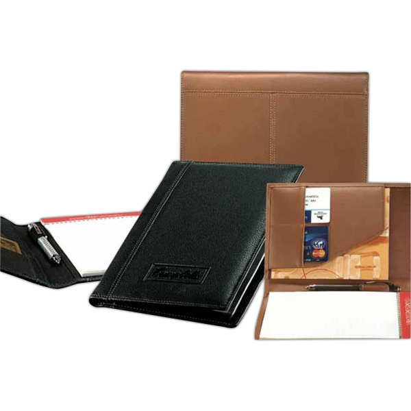 "Signature - Top Grain Cowhide Leather Junior Padfolio With Standard 5"" X 8"" Ruled Note Pad Photo"