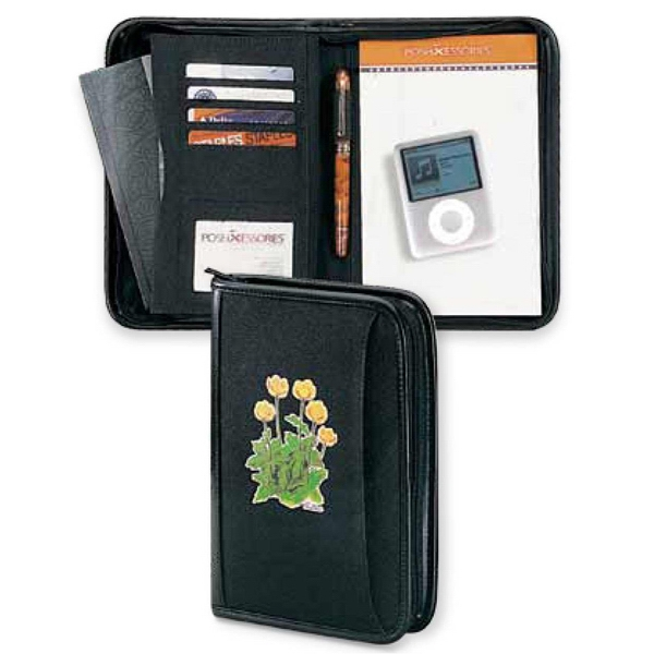 "Classic Scenesetter - Black 600 Denier Polyester Canvas Junior Portfolio With A 5"" X 8"" Ruled Note Pad Photo"