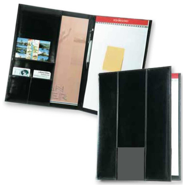 Newport - Dual Tone Contemporary Style Non Zippered Padfolio With Slim Vertical Panels Photo