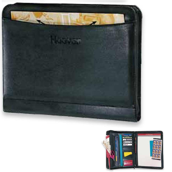 Elite Pro Designer - Zippered Portfolio With Curved Edge Exterior Storage Pocket Photo