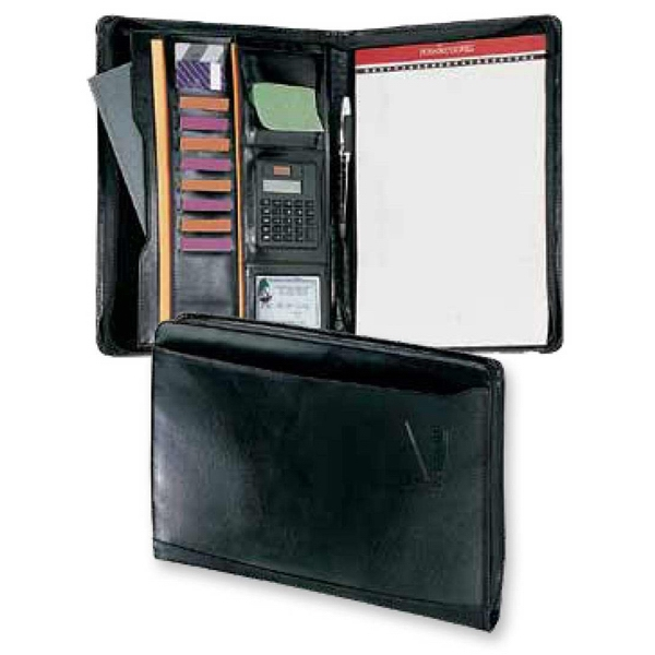 Atlantis - Zippered Leather Calculator Portfolio Features Dual Power Calculator, And Id Window Photo