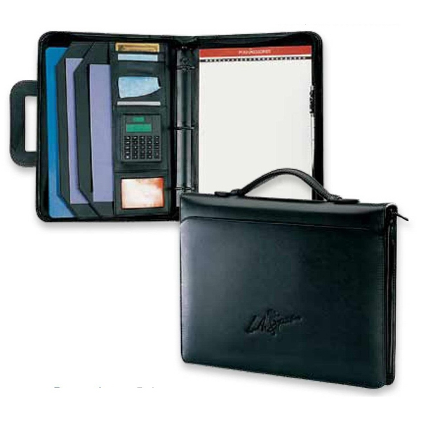 Classic Opportunist - Simulated Leather 3-ring Portfolio With Calculator And 3 Ring Binder Photo