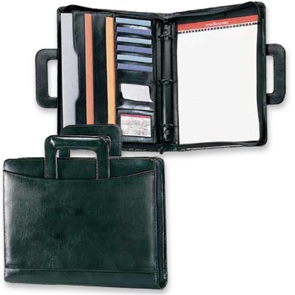 "Atlantis - Leather 1 1/4"" 3-ring Portfolio Features 1 1/2"" Gusset Pocket With Id Window Photo"
