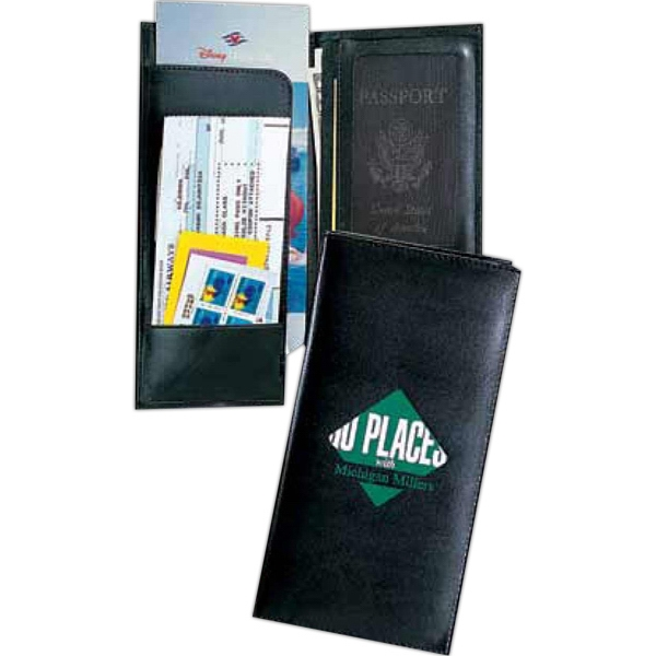 Visa - Pu Leather Travel Passport Case With Pockets For Boarding Pass, Tickets, Currency Photo