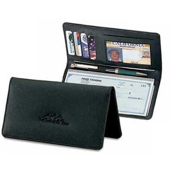 Classic Valueplus - Simulated Leather Checkbook Cover With I.d. Window And Elastic Pen Loop Photo