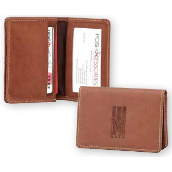 Marin - Pu Leather Business Card Holder Case, Gusseted Card Pocket Can Hold 40 Cards Photo