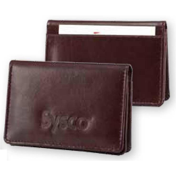 Atlantis - Burgundy Bond Leather Business Card Holder Case. Gusseted Card Pocket Holds 40 Cards Photo