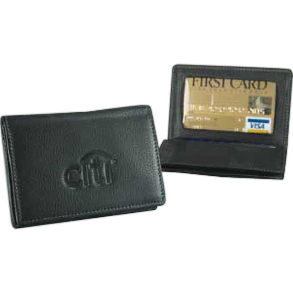 Business Card Holder - Full Grain Leather Business Card Holder Case With Gusseted Pocket To Hold 40 Cards Photo
