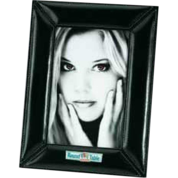Atlantis - Black Leather Desktop Picture Frame With Italian Style Cowhide Photo