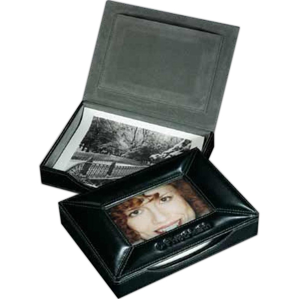 Atlantis - Black Leather Desktop Photo Box With Italian Style Cowhide Photo