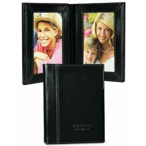 Atlantis - Leather Bi-fold Vertical Photo Frame With Easy Open Magnetic Closure Photo