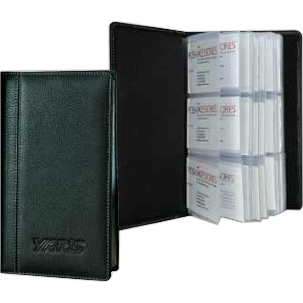 Signature - Full Grain Leather 3-row Business Card Holder Case. Hold 72 Business Cards Photo