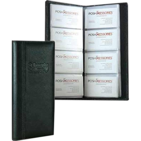 Signature - Full Grain Cowhide Leather 4-row Business Card Holder Case. Hold 96 Business Cards Photo