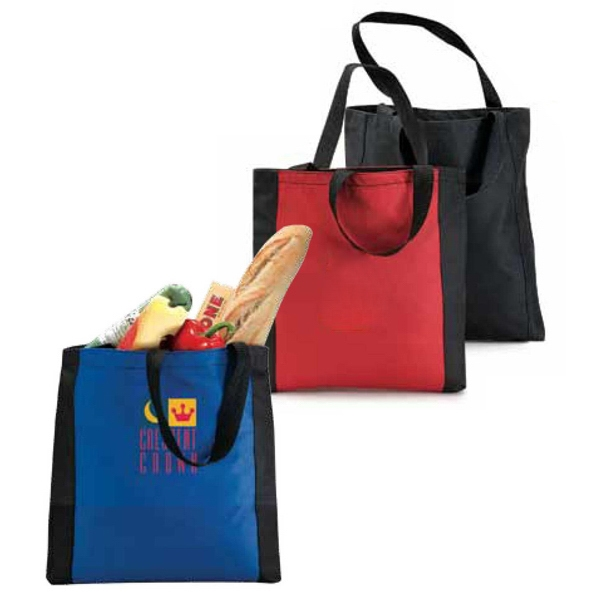 Eco-link - Poly Canvas Tote Bag With Classic Vertical Panel Accent Trim Photo