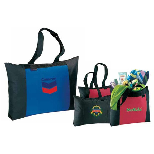 Poshaccents - Black - Canvas Tote Bag With Black Trim On Body And Handles And A Zippered Main Compartment Photo