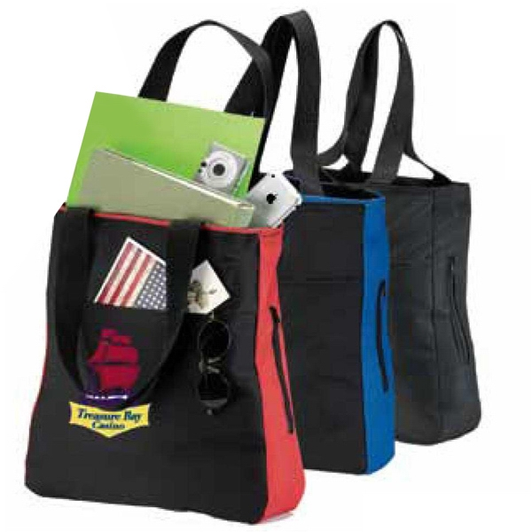 Tote Bag With Large Main Compartment And Two Zippered Side Pockets Photo