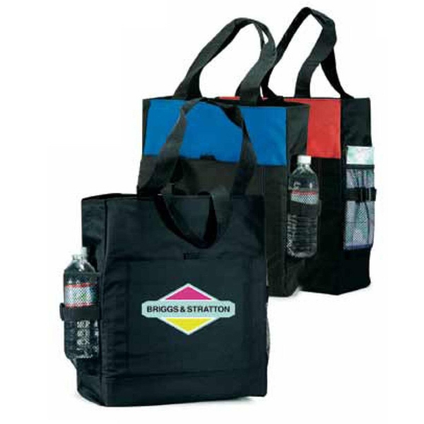 Bayside - Black - Polyester Canvas Tote Bag Features Front Velcro (r) Snap On Pouch Photo