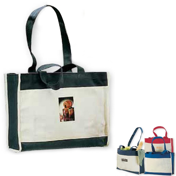 Malibu - Black 13 Oz. Canvas Tote Bag With Attention Getting Color Accents Photo