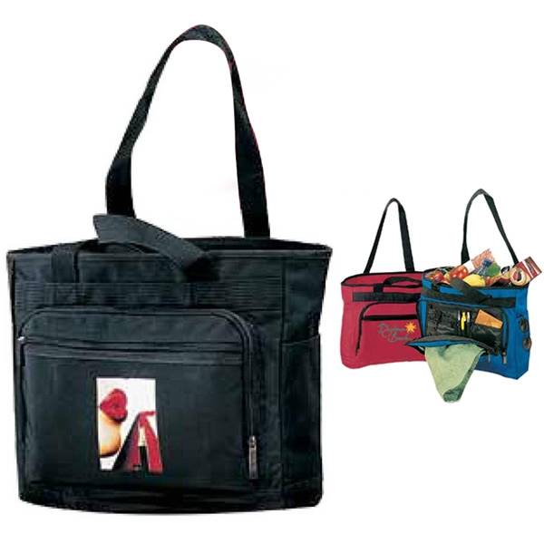 Black - Polyester Canvas Downtown Tote Bag With A Zippered Main Compartment Photo
