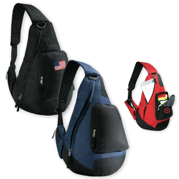 Forerunner - Black - Sling Shoulder Backpack With Side Loading Zippered Main Compartment Photo