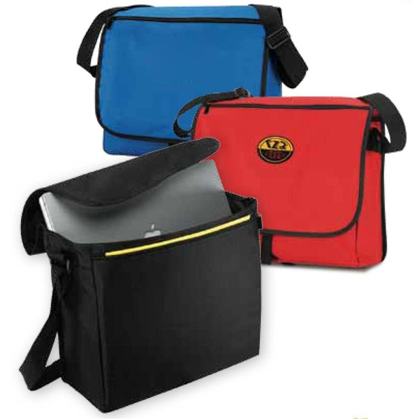 Route 1 - Black - Polyester Canvas Messenger Bag With Spacious Top Loading Main Compartment Photo