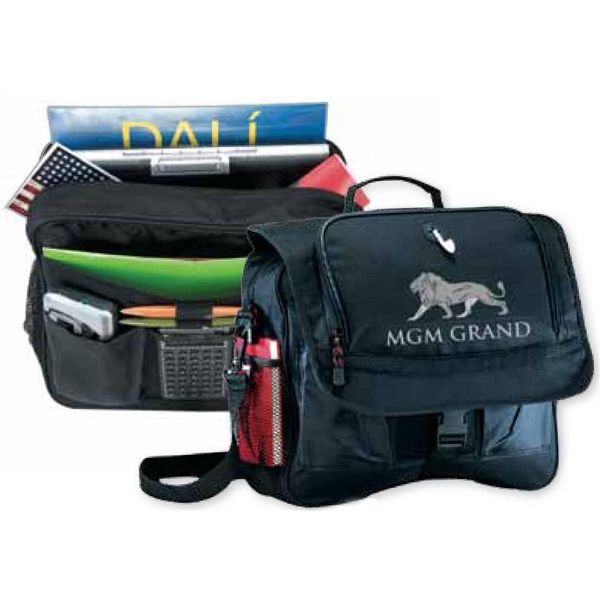 Messenger Bag With Full Size File Panel Under Flap With Pockets Photo