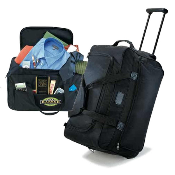Black 600 Denier Poly Canvas Compact Rolling Duffel Bag Photo