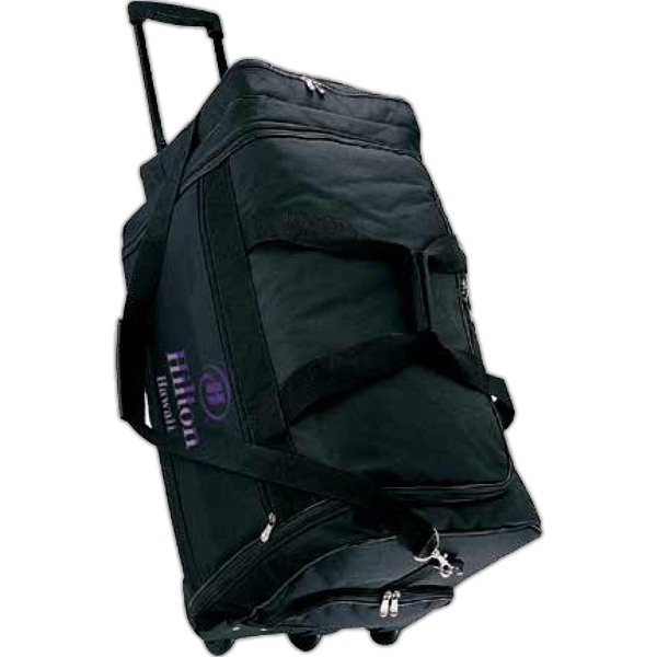 Black 600 Denier Polyester Canvas Rolling Duffel Bag With Telescoping Handle Photo
