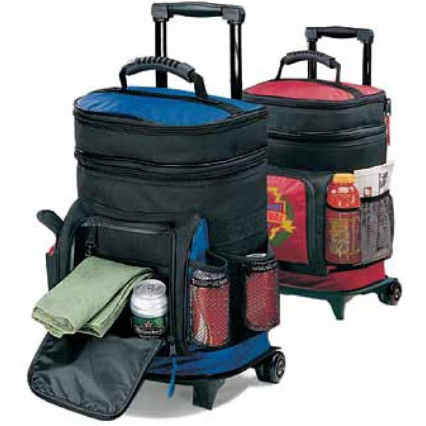 19th Hole - Polyester Canvas Wheeled Cooler With Telescoping Pull Handle Photo
