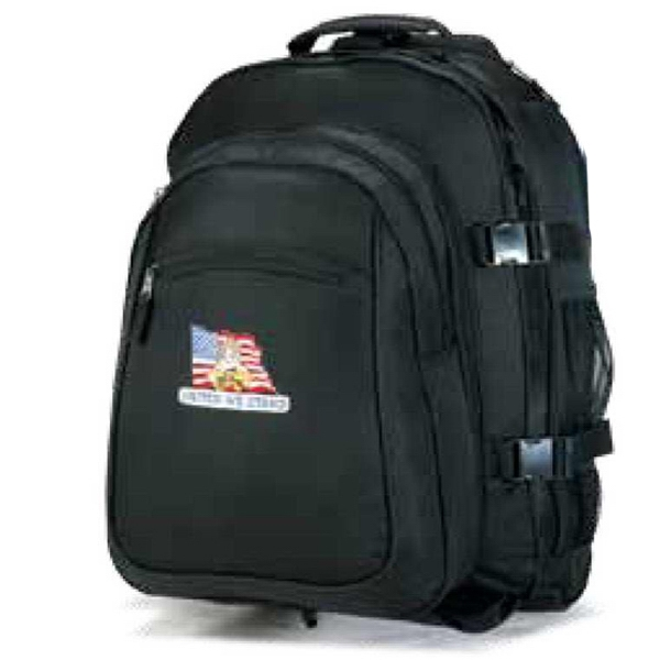 Traveler - Polyester Canvas Rolling Double Backpack With Inline Skate Wheels Photo