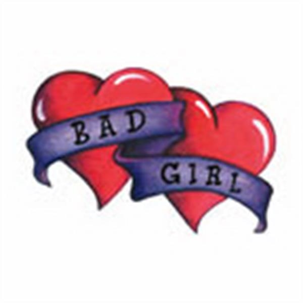 "2 Hearts W-""bad Girl"". Stock Tattoo Designs Photo"