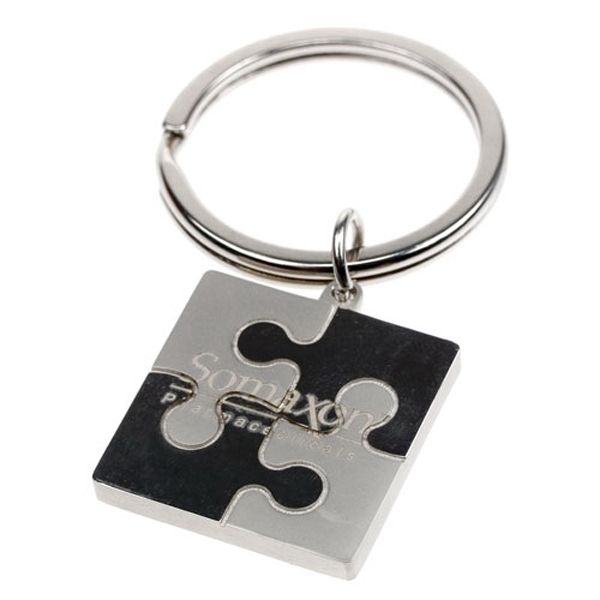 2 tone nickel puzzle key chain