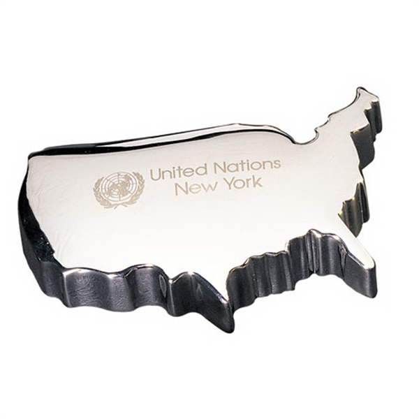 Silver USA map paperweight