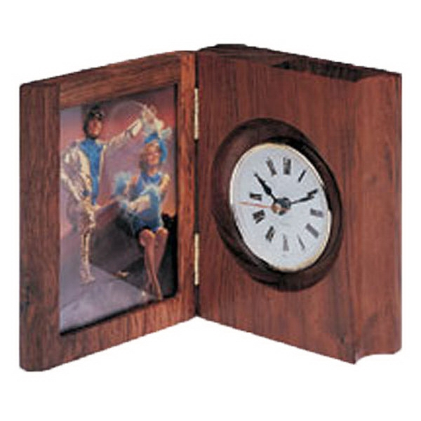 Book clock with picture frame