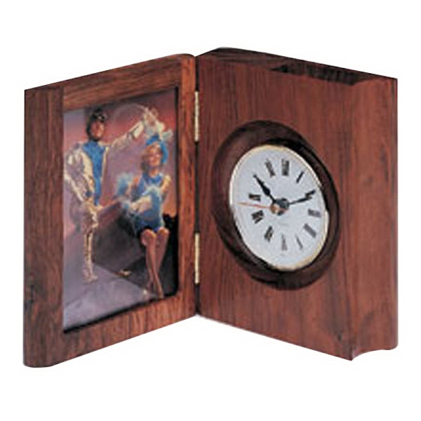 Dark book clock with picture frame