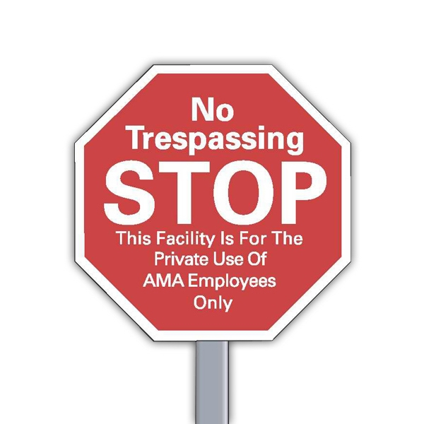 "9"" X 9"" Stop Sign Reflective Security Yard Sign Made Of White Polyethylene Photo"