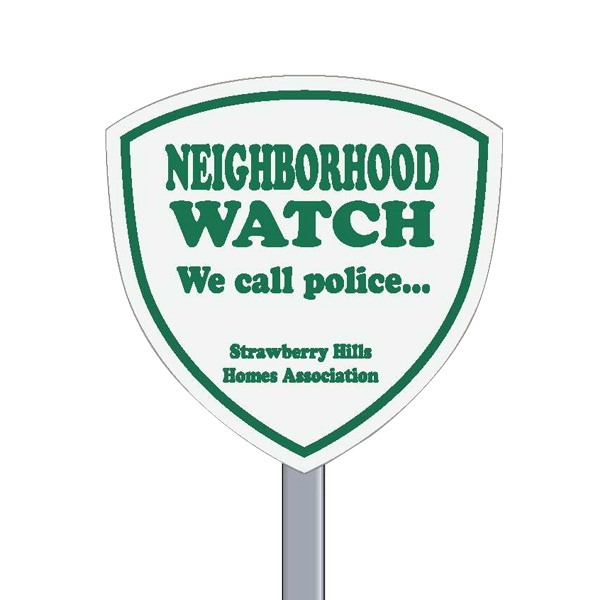 "9"" X 9"" Shield Reflective Security Yard Sign Made Of White Polyethylene Photo"
