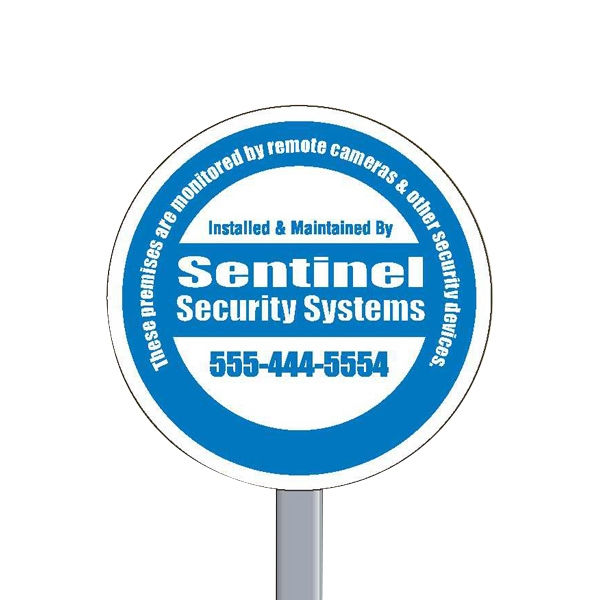 "9"" Diameter Circle Reflective Security Yard Sign Made Of White Polyethylene Photo"