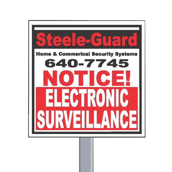 "9"" X 9"" Square Reflective Security Yard Sign Made Of White Polyethylene Photo"