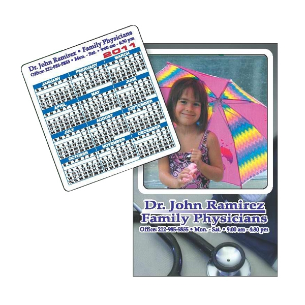 "3 1/2"" X 5 5/8"" Rectangle Picture Frame Magnet; 3"" X 3 1/4"" Removable Calendar Photo"