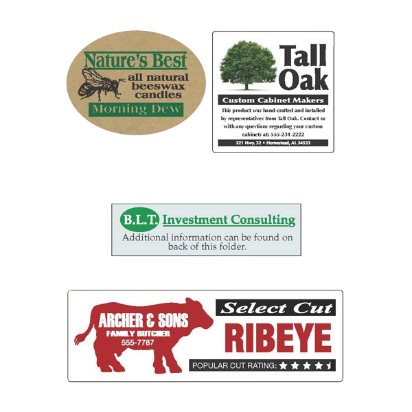 Flexography - .25 - 3.75 Sq. Inches - Oval - Flexo Printed Specialty Material Roll Labels For Indoor Use Photo