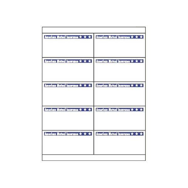 "Sheet Of 2 Blank 8.5"" X 5.5"" Laser Labels Photo"