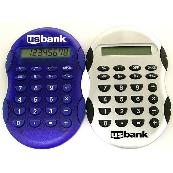 Calculator with rubber grip accents