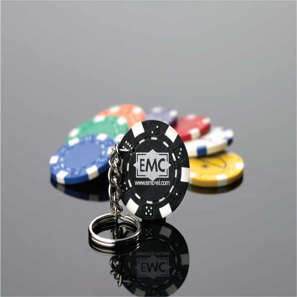 Poker Chip Key Ring, Feature 11.5 Gram Heavyweight Clay Composite Poker Chip Photo
