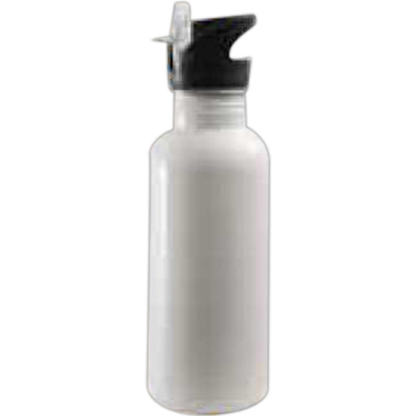 White - This Stylish Stainless Steel Water Bottle Is Great For Promotions, Events And More! Photo